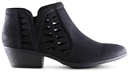 MARCOREPUBLIC Oslo Womens Perforated Cut Out Side Medium Low Stacked Block Heel Ankle Booties Boots - (Black Nubuck) - 6.5