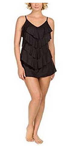- Kirkland Signature By MIRACLESUIT TANKINI SWIMSUIT TOP, Look & Feel Slimmer! (12, Solid Black, Layered)
