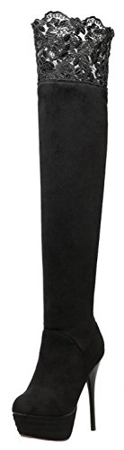 Summerwhisper Women's Sexy Lacy Faux Suede Round Toe Stiletto High Heel Platform Slip on Thigh Boots Black 8 B(M) (Sexy Womens Boots)
