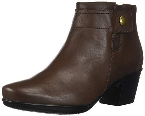 Clarks Women's Emslie Jada Waterproof Boot Ankle, Dark Brown Leather, 75 M US