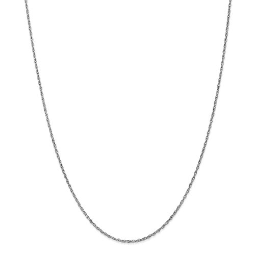 10k White Gold 1.3mm Heavy-Baby Rope Chain 18in Necklace by Diamond2Deal