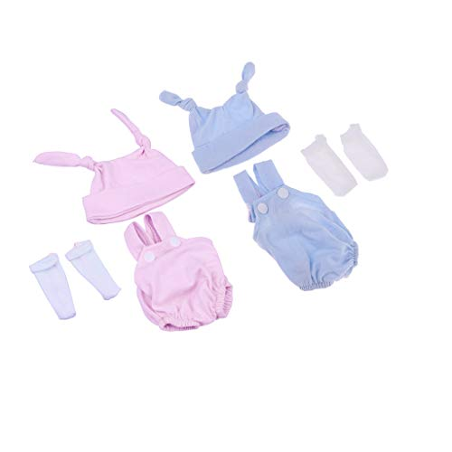 Fenteer 2 Set Trendy Rompers Hat Socks Suit Clothes for 10-11'' Reborn Baby Boy Girl Doll Outfits ()