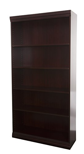 (Norsons Industries Jefferson Traditional Wood Veneer Bookcase, 72-Inch, Mahogany)