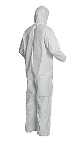 DuPont ProShield 50 NB127S Protective Coverall with Respirator Fit Hood and Serged Seams Large NB127SWHLG002500 Pack of 25 White