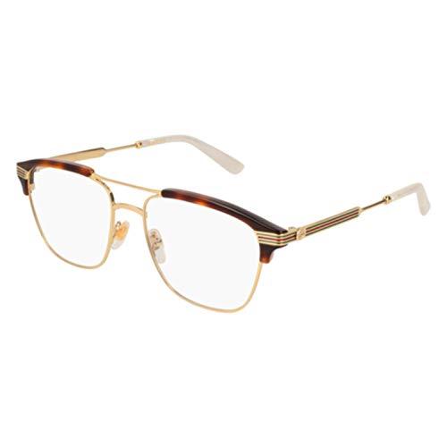 Gucci GG 0241O 001 Gold Light Havana Plastic Rectangle Eyeglasses - Frame Havana Light Eyeglasses