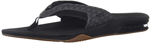 Reef Men's Fanning Prints Sandal, Black/Hound, 14 Medium US
