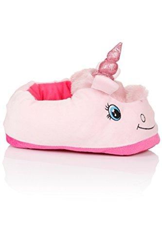 Unicornio Felpa Suave Calentar Zapatillas Zapatos 1 talla para todos, 36-41 rosa