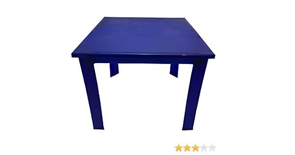 F.I.O.R.E Mesa pequeña de plástico con patas extraíbles – ideal para jardín, camping, picnics y mesas infantiles, azul, Small: Amazon.es: Hogar