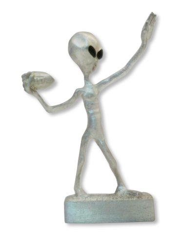 (Real Metal Football UFO Alien Throwing a Hail Mary Pass Pewter Statue)