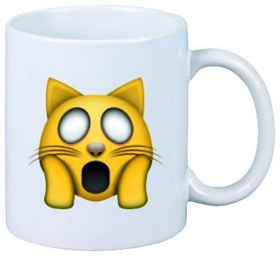"""Taza """"empobrecido cara de gato"""" de cerámica, Smiley, Emoji, decoración"""
