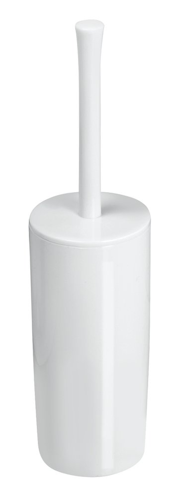 mDesign Slim Compact Plastic Toilet Bowl Brush and Holder for Bathroom Storage - Sturdy, Deep Cleaning - White