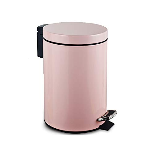 LZMXLJT 5L/7L/12L Stainless Steel Round Kitchen Trash Can, with Lid Household Pedal Trash Can, for Living Room Bedroom Kitchen Bathroom Garbage Storage Bin (Color : Pink, Size : 12L)