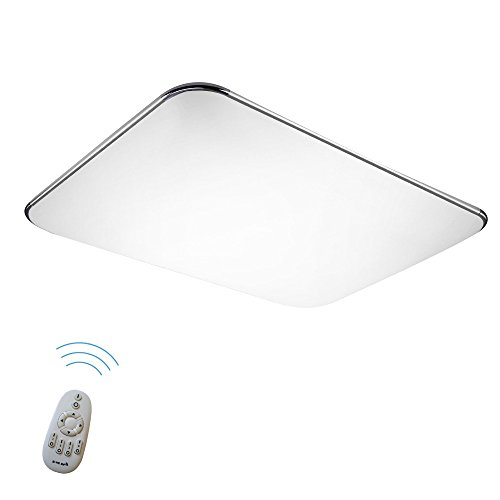 SAILUN 48W Dimmbar Ultraslim LED Deckenleuchte Modern Deckenlampe Flur Wohnzimmer Lampe Schlafzimmer Küche Energie Sparen Licht Wandleuchte Farbe Silber