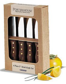 """Tramontina Stainless Steel 4 Piece 5"""" Steak Knife Set With Dark Wood Handles from Tramontina"""