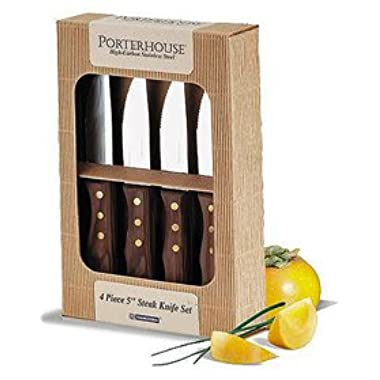 Tramontina Stainless Steel 4 Piece 5  Steak Knife Set With Dark Wood Handles