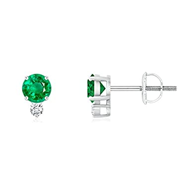 Angara 4 Prong Set Natural Emerald Stud Earrings with Diamond QGYjkkM