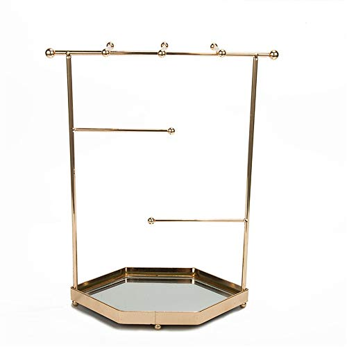 Jewelry Storage Rack Jewelry Organizer For Women, Gold Metal Hanger Display Necklace And Earring Holder Stand Tower With Hexagon Bowl Tray Dish, Stores Trinkets And Rings Earring Holder Jewelry Organi