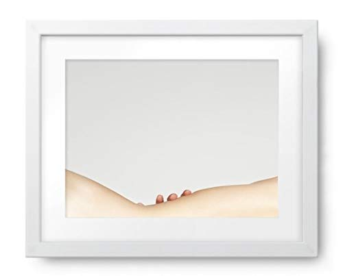 Photos by Getty Images Woman's Nude Back Curve and Fingers Touching at Waist, mid Section - Framed Print, Framed, White, White Matte, 18.5x14.5