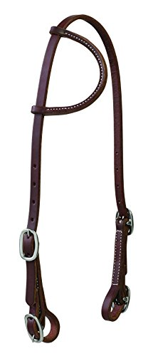 Weaver Leather Working Tack Stainless Steel Sliding Ear Headstall with Buckle Bit Ends