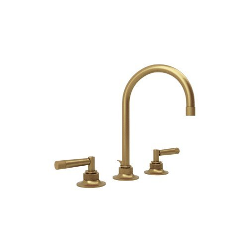 Rohl MB2019LMFB-2 Michael Berman Graceline Deck Mounted Widespread Lavatory Faucet with 6 1/2 Reach C-Spout Pop-Up Waste and Metal Levers, French Brass by Rohl