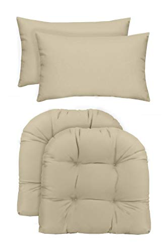 (RSH Décor Indoor/Outdoor - 2 U-Shape Wicker Chair Cushions & Bonus Lumbar/Throw Pillows (2 (19