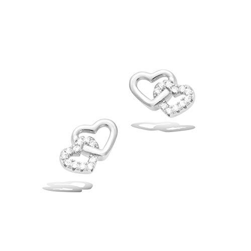 Agvana Sterling Silver Cubic Zirconia Love Heart Stud Earrings Cute Trendy Jewelry Gift for Women Girls, Size 0.4