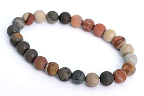 8MM Matte Ocean Jasper Bracelet Grade AAA Natural Round Gemstone Beads 7