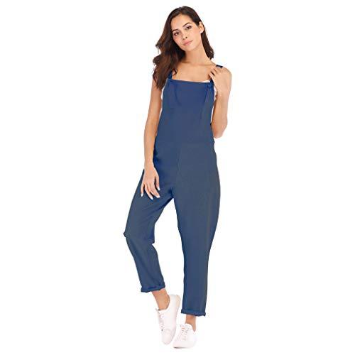 - Eakyool Elastic Loose Waist Slim Pockets,Women Sleeveless Pockets Linen Rompers Long Playsuit Party Jumpsuits Navy