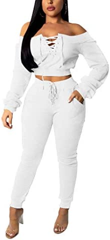 OLUOLIN Women Sexy Long Sleeve Two Pieces Outfits Tracksuit Lace Up Off Shoulder Casual Sweatsuit