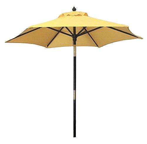 "MJJ Sales, 6.5ft Wood Tilt - Yellow - 7 oz Polyester - 9 Colors Available Approx. 1 3/8"" Pole Diameter 6 Dark Cherry Wood Ribs - shades-parasols, patio-furniture, patio - 317SOK D6kL -"