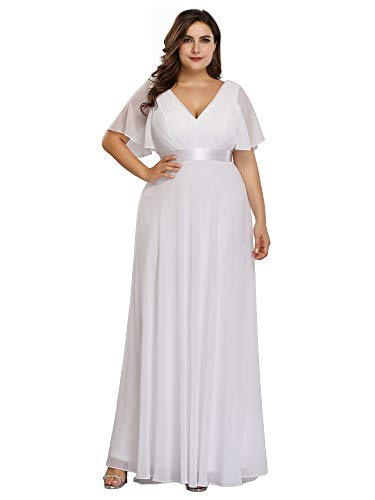 Ever-Pretty Women's Plus Size Ruffle Sleeves Formal Wedding Party Maxi Dress White US14