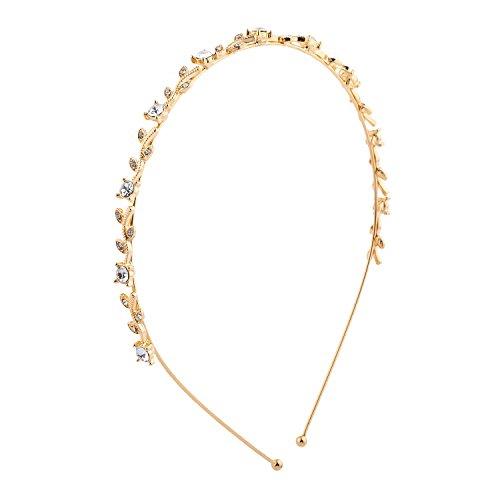 Lux Accessories Gold Tone Faux Rhinestone Mini Leaf Bridal Headband Hair Crown