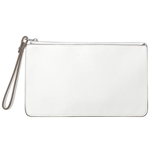 DAVIDJONES Woman's Leather Wristlet Purses Clutch Wallets with Strap Small Crossbody Handbag - White