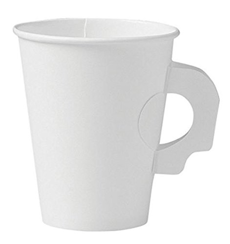 Perfect 8 oz Paper Espresso Cups (50 ct) Bundled with Andaman Coaster - Mini Hot Disposable Cup for Coffee, Tea, Nespresso, Water, Shots, Wheat Grass, Sampling and Also Cold Drinks - with Handle ()