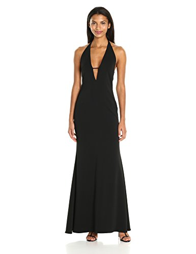 Badgley-Mischka-Womens-Plunging-V-Neck-Gown
