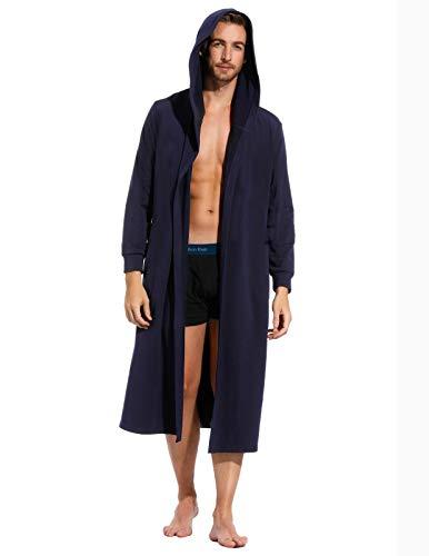 (Zexxxy Pj Robe Men Long Sleeve Shawl Collar Kimono Lounge Sleepwear with Belt Navy M)