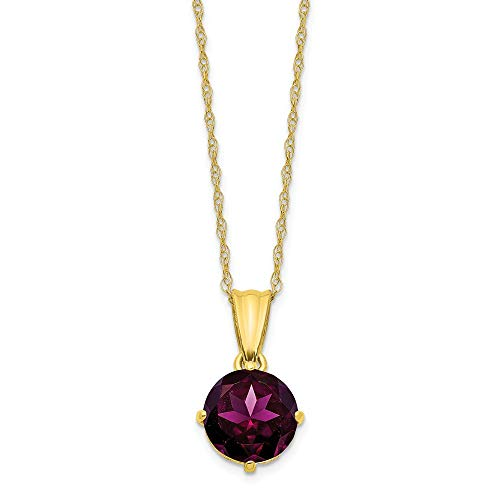 10k Yellow Gold Diamond Rhodolite Red Garnet Chain Necklace Pendant Charm Gemstone Birthstone Fine Jewelry Gifts For Women For Her from ICE CARATS