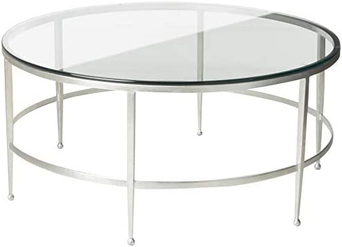 Safavieh Couture Home Edmund Antique Silver and Glass Round Cocktail Table