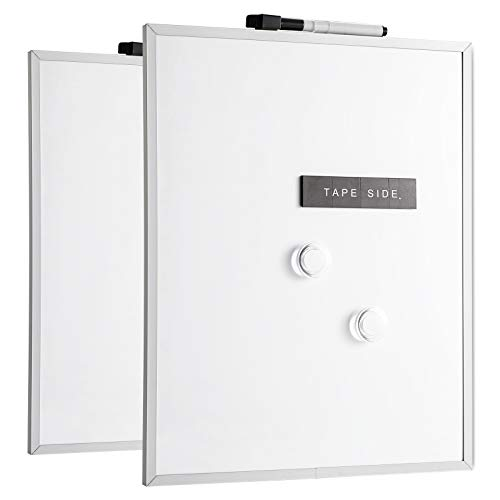 Deli Magnetic White Board, Small Dry Erase Board, 1 Dry Erase Marker, 2 Magnets, Aluminum Frame