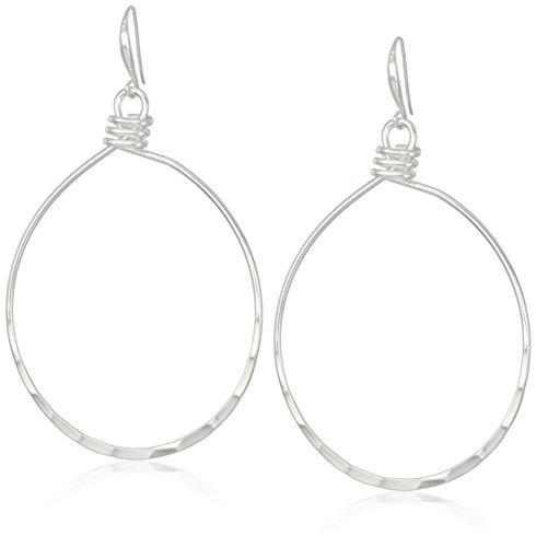 Robert Lee Morris Hammered Texture Large Silver Oval Gypsy Hoop Earrings (Earrings Silver Oval Hammered)