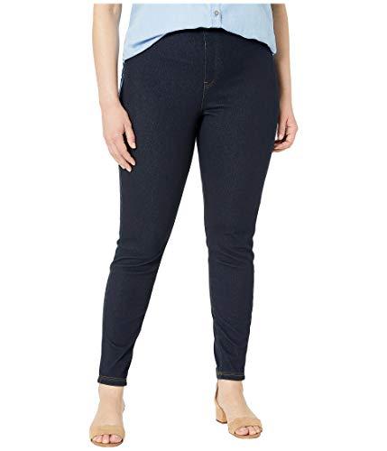 HUE Women's Plus Size Curvy Fit Denim Jean Leggings, Midnight Rinse 3X
