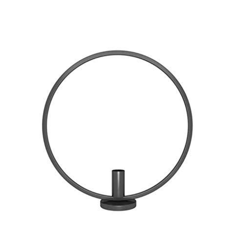 YJYdada Round Geometric Table Candlestick Metal Tea Lamp Home Decoration Nordic Style Simple Design of Celebration,Wedding,Party,Living Room Bathroom (Black, -