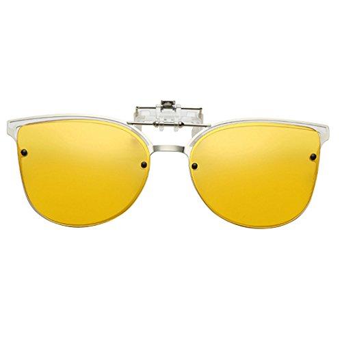 metálica Gafas de up Clip Polarized montura Gafas con Eye de sol on Amarillo Flip Huicai Cat sol 4fZyq4v