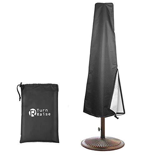 TURN RAISE Patio Umbrella Cover[2019 Newest],Waterproof Cantilever Outdoor Umbrella Cover with Zipper fit 8ft to 11ft,Black(Oxford Fabric) ()