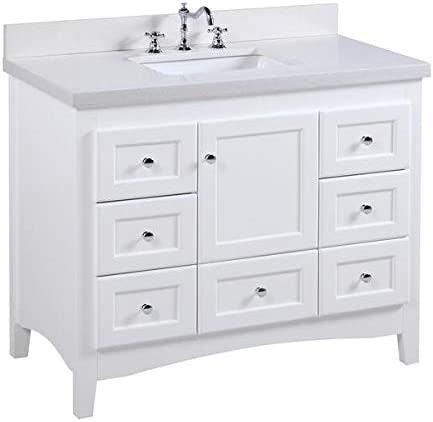 Abbey 42-inch Bathroom Vanity Quartz/White : Includes White Cabinet