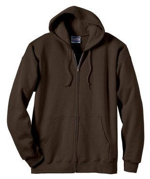- Hanes Ultimate Cotton Full-Zip Fleece Hood 10 Oz Sweatshirt, Dark Chocolate, 2XL