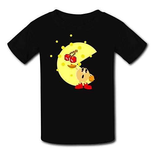 Puckman Arcade Game Youth Tee Shirts Fashion Soft Kids t Shirt Black ()