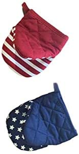 Nantucket Home Mini Oven Mitts, Set of 2 – Patriotic Red and Blue