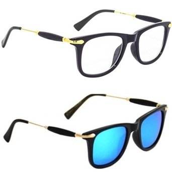 b3369d5c6cf Image Unavailable. Image not available for. Colour  Sheomy Stylish Fashion  Square Wayfarer White Lens Unisex Sunglasses and Spectacle Frame ...