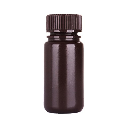 Aibelong 60ML Lab Amber Plastic Reagent Bottle with Wide Mouth (Pack of 108PCS)